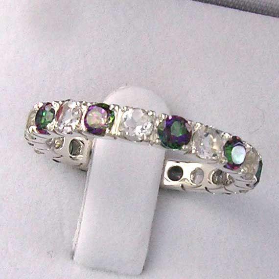 $159 Mystic Topaz & White Topaz Eternity Band Ring 925 by ChadaSoph on etsy #etsy #jewelry