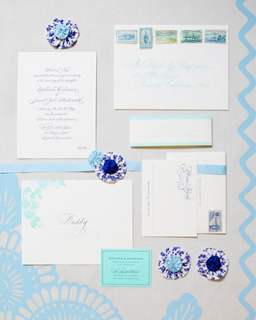 A blue and white suite