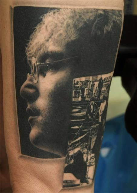 john lennon portrait tattoo by andy engel this looks just like a photograph it 39 s amazing. Black Bedroom Furniture Sets. Home Design Ideas