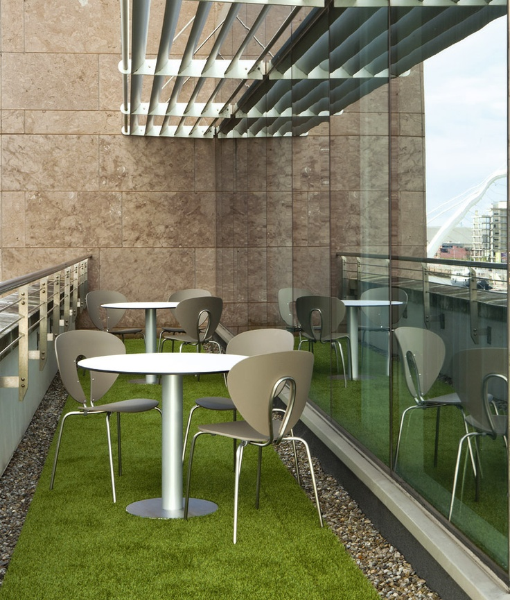 Terrace of Publicis offices in Dublin, with outdoor Zero table and Globus chairs from STUA.