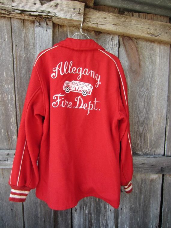 40s Allegany Fire Dept Wool Jacket, L // Red Butwin Jacket // Vintage Varsity Letterman Jacket