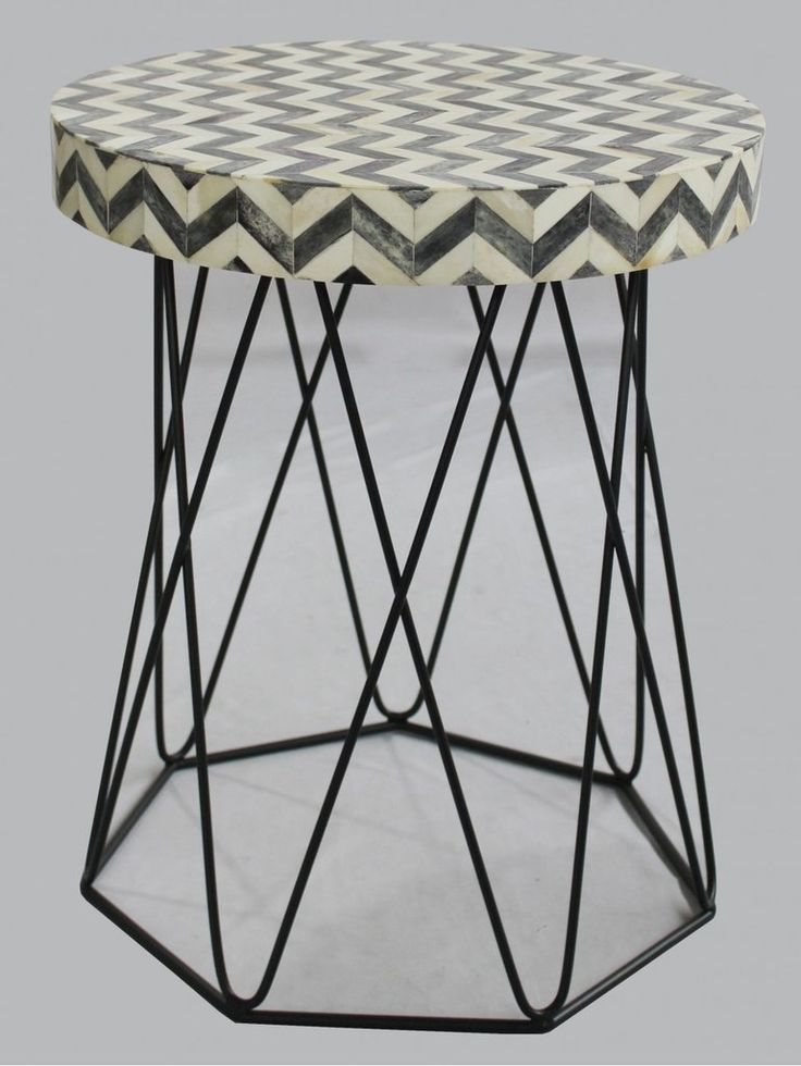 $375 Chevron Bone Inlay Side Table