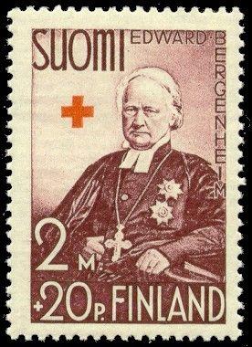 Postage stamp depicting Finnish Archbishop Edvard-Bergenheim.