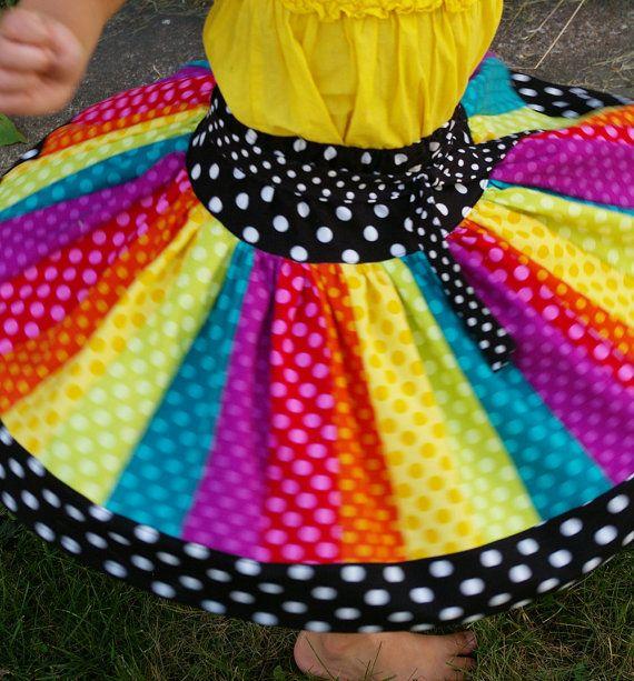 Rainbow Twirl Skirt for Girls  The Carousel by BeneathTheRowanTree