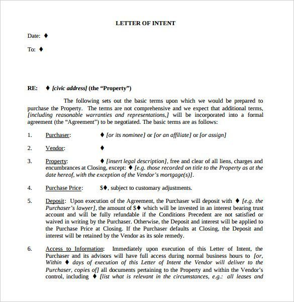 Examples Of Letter Of Intent Letter Of Intent Business Template