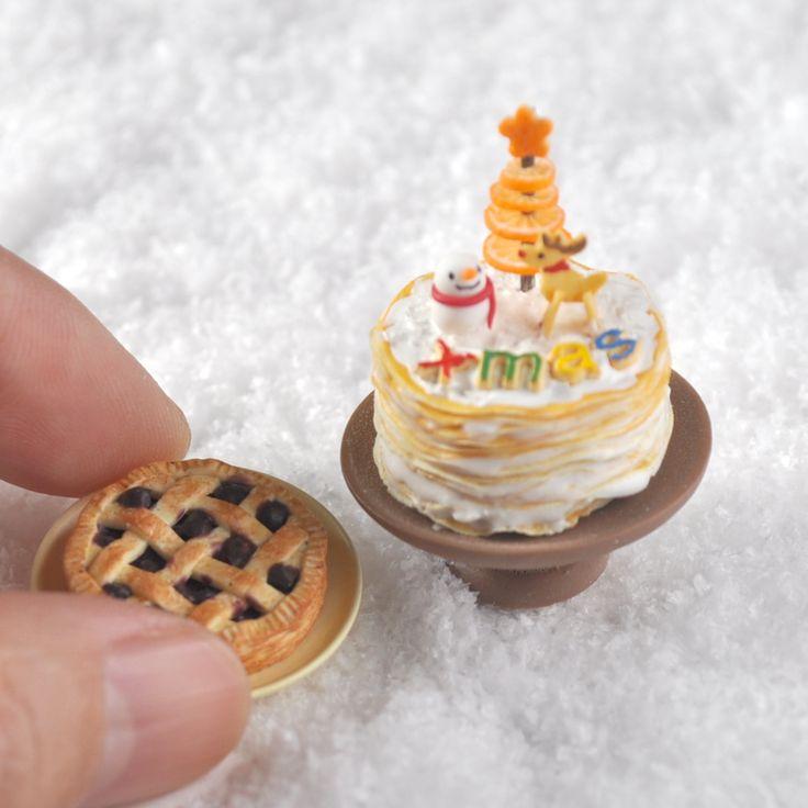 *雪だるま クリスマスケーキ セット チェリーパイ オレンジのツリー クリスマス ハンドメイド ドールハウス ミニチュア 食品サンプル *_画像2