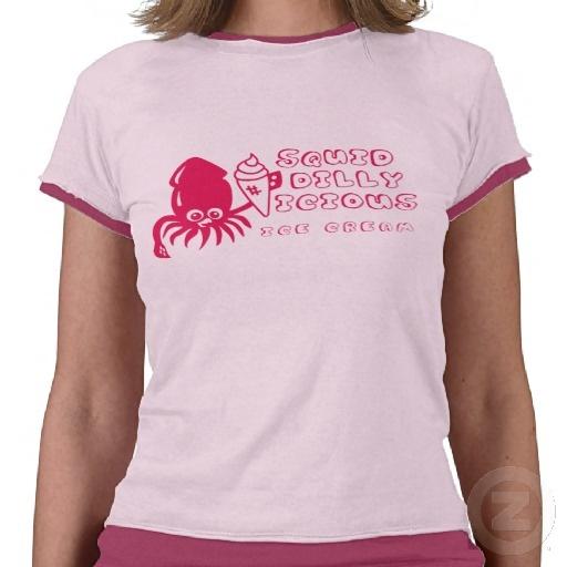 Ice Cream Squid Ladie's Shirt - Magenta- $33.55 at Zazzle.com #squid #cute #shirt #art #icecream