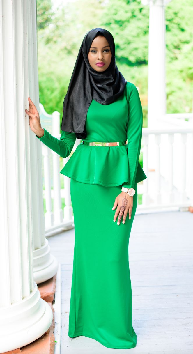 Emerald Long Sleeve Peplum Maxi Dress