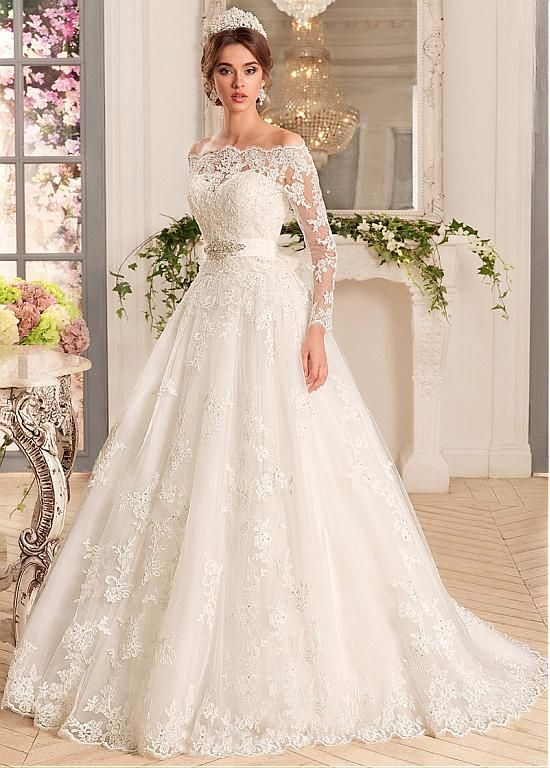 buy discount glamorous tulle satin off the shoulder neckline a line wedding