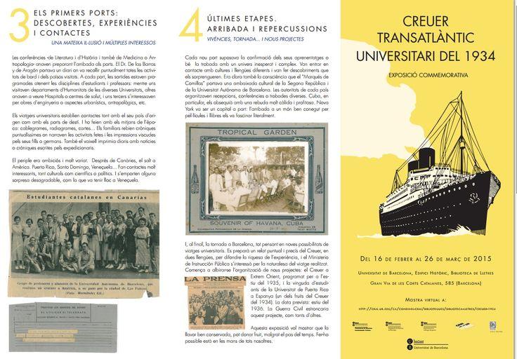 Febrer 2015 - Tríptic - CRAI Biblioteca de Lletres - Exposició virtual: Creuer Transatlàntic Universitari del 1934 (1)