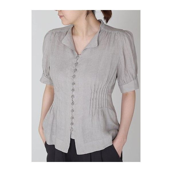 Rotita Short Sleeve Button Up Grey Blouse ($30) ❤ liked on Polyvore featuring tops, blouses, grey, button up top, short-sleeve blouse, button down blouse, short sleeve button down blouse and short sleeve blouse