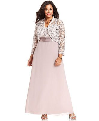 R&M Richards Plus Size Dress and Jacket, Sleeveless Crochet-Lace Gown - Plus Size Dresses - Plus Sizes - Macy's $119 T10