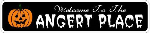 ANGERT PLACE Lastname Halloween Sign - 4 x 18 Inches by The Lizton Sign Shop. $12.99. Aluminum Brand New Sign. Rounded Corners. 4 x 18 Inches. Great Gift Idea. Predrillied for Hanging. ANGERT PLACE Lastname Halloween Sign 4 x 18 Inches - Aluminum personalized brand new sign for your Autumn and Halloween Decor. Made of aluminum and high quality lettering and graphics. Made to last for years outdoors and the sign makes an excellent decor piece for indoors. Great for the porch o...