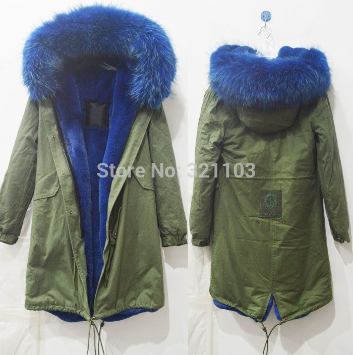 Long style winter warm coat Mrs Mr fur parka with big blue real fur collar coats winter outerwear