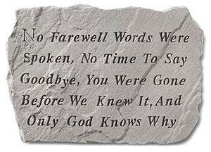 """No Farewell Words Were Spoken"" memorial stone"
