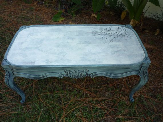 Blue Coffee Tablebeachyfrench by RightUpMyAlleyDesign on Etsy, $150.00