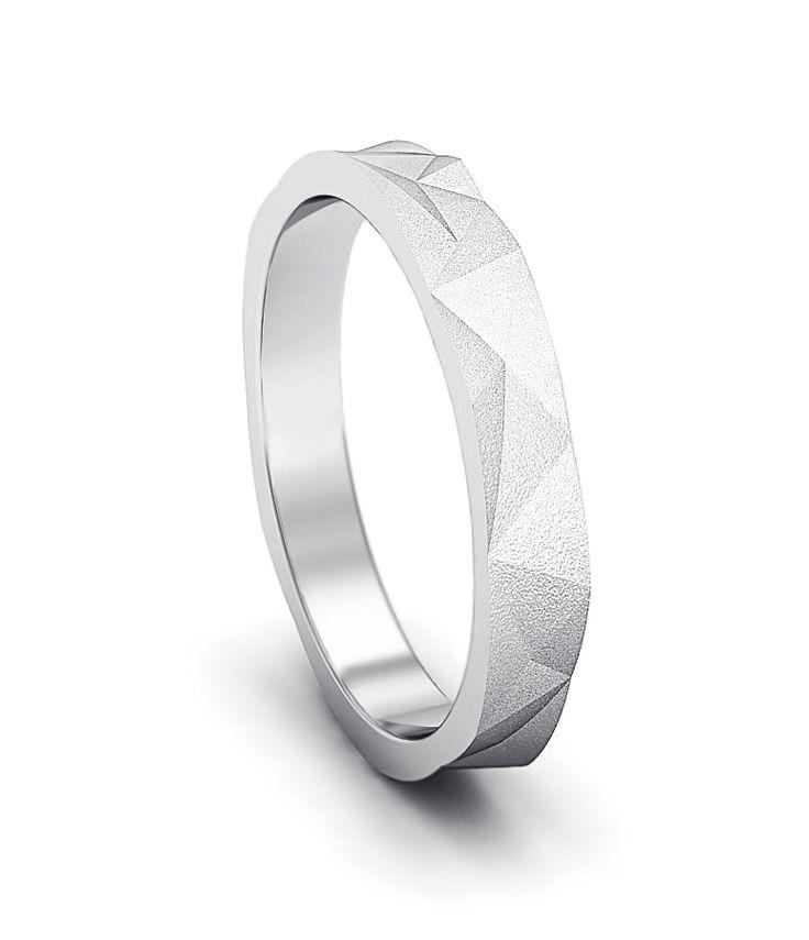 Обручальное кольцо модель w-295 белое золото.