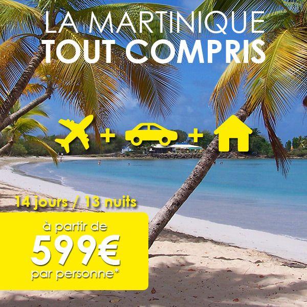 Du 17 au 30 juin, profitez de deux offres exceptionnelles ! Vol + Hébergement à partir de 539 €, ou Vol + Hébergement + Voiture à partir de 599 €. Pour 14 jours / 13 nuits à partir de 539 €, partez en vacances à la Martinique.  Ces offres comprennent le billet d'avion (Corsair) et l'hébergement en bungalow 2 à 5 personnes. La deuxième offre inclut également la location de voiture auprès de notre partenaire CarEco
