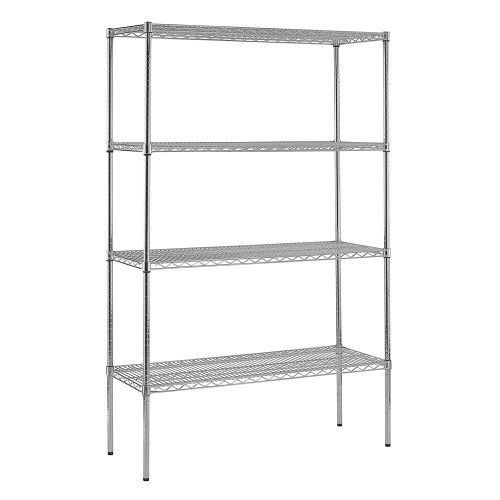 """Sandusky WS481874-C Chrome Steel Heavy Duty Adjustable Wire Shelving, 3200 lbs Capacity, 48"""" Width x 74"""" Height x 18"""" Depth, 4 Shelves by Sandusky. $132.99. Chrome wire shelving. Strong and durable welded wire construction with open design permits sprinkler, air and light penetration and reduces dust build-up. Includes four shelves that easily adjust in 1"""" increments. Adjustable levelers for uneven flooring. The four shelves are fully adjustable. Contemporary design wi..."""