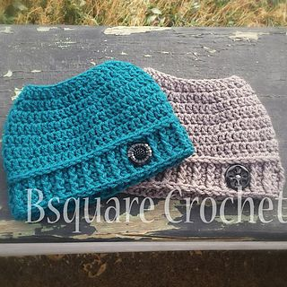 This hat is super easy and quick. It takes an hour or less to complete and uses a small amount of worsted weight yarn. Knowledge of the Foundation Double Crochet is needed, it gives the opening at the top a great stretch. This hat is super stretchy and fits from child to adult. Finished hat is approx 6.5 inches tall and 9 inches wide. Complete the look by adding your favorite bow, flower or button.