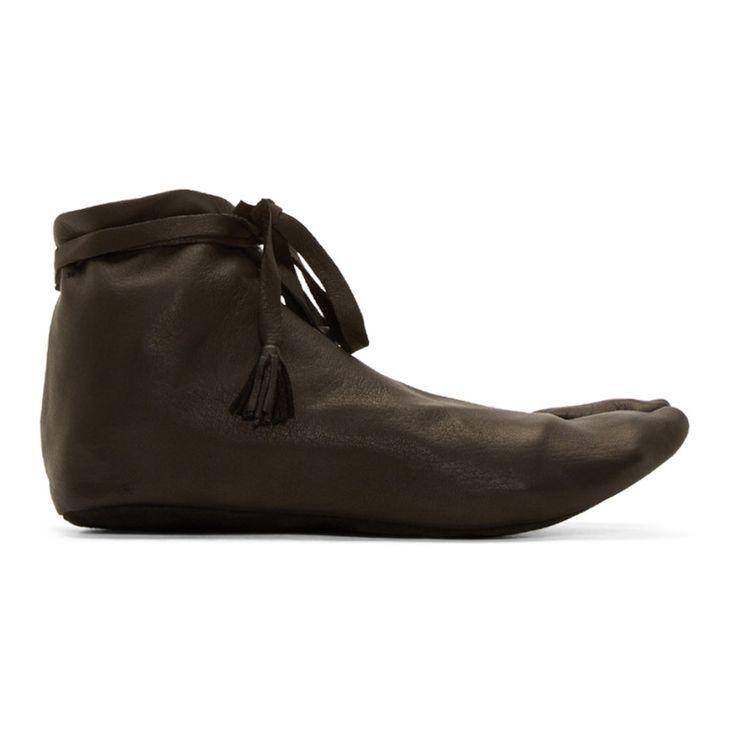 Sasquatchfabrix Black Leather Tasseled Tabi Slippers