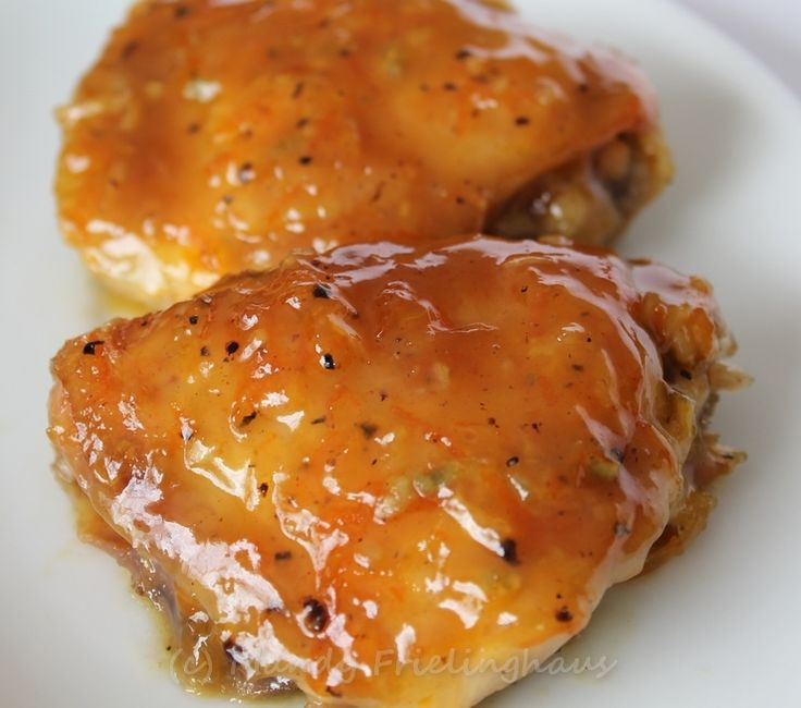 Marmalade Chicken  - I made this using Hot Pepper Jelly instead of orange marmalade .. because I like spicy more than sweet flavors.