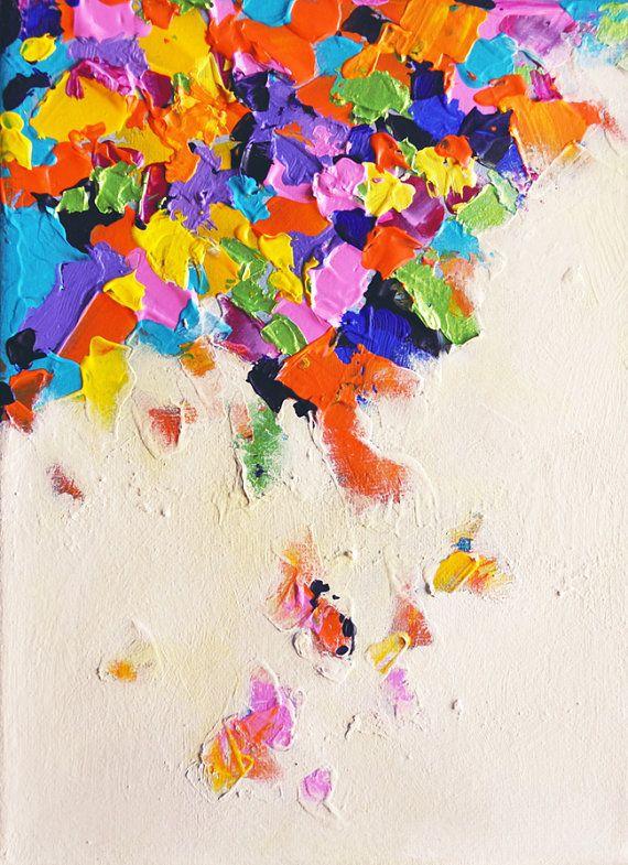 Falling Rainbow  original textured abstract by Natureandart, $150.00