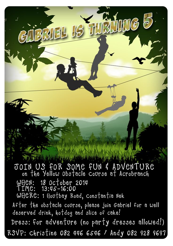 Outdoor Zip-line Birthday Invitation
