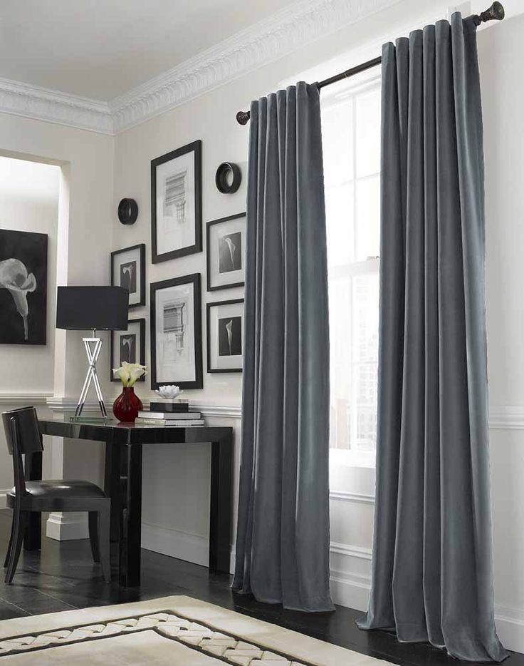 Elegant Curtain Ideas for Large Windows Designing Interior Perfectly: Cool Grey Curtain Ideas For Large Windows Modern Home Office Table Located Nearby Workspace In Luxurious House Design Interior ~ CLAFFISICA Furniture Inspiration