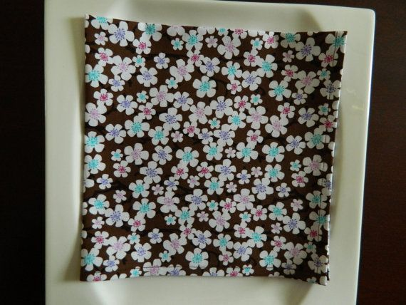 Dinner Napkins Set of 4. Oriental Blossoms on Chocolate Brown