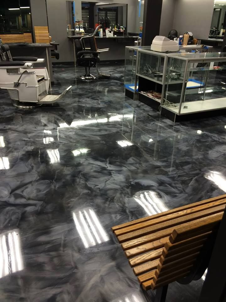 black and grey swirly floor