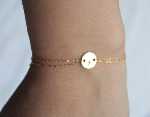 Monogram bracelet 14k gold fill by Hibiscusdays on Etsy, $26.00