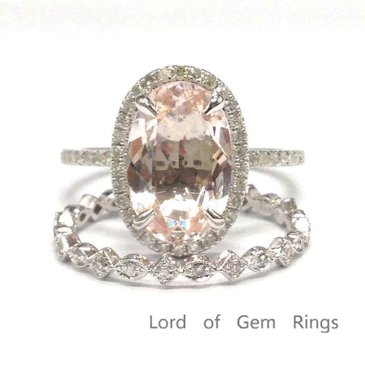 Oval Morganite Engagement Ring Sets Pave Diamond Wedding 14K White Gold 8x12m