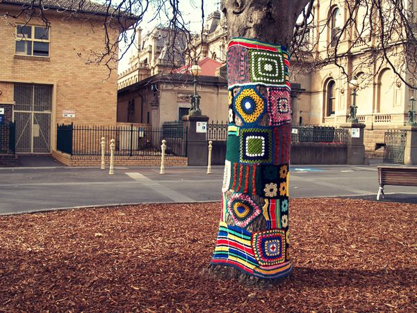 -Yarn Bombed Tree in Bendigo