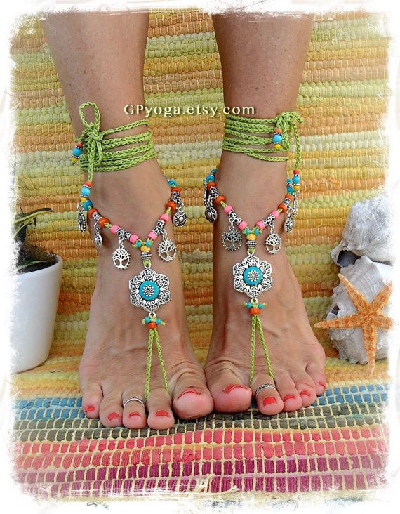 Boho GREEN Barefoot Sandals with Turquoise FLOWER Hippie by GPyoga