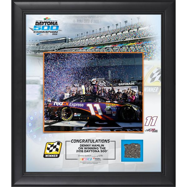 "Denny Hamlin Fanatics Authentic Framed 15"" x 17"" 2016 Daytona 500 Champion Collage with Track - Limited Edition of 250 - $89.99"