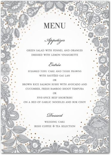 Would like to see this in Blue and Gold Delicate Embroidery - Signature Foil Menu Cards - East Six Design - Light Gray - Gray : Front