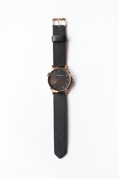 Original Leather Watch / Black Face, Leather Black Band, Rose Gold Indexing