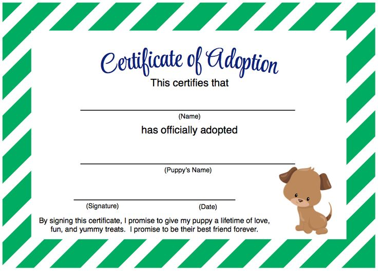 Puppy Party - Adopt A Puppy Certificate Free Printable