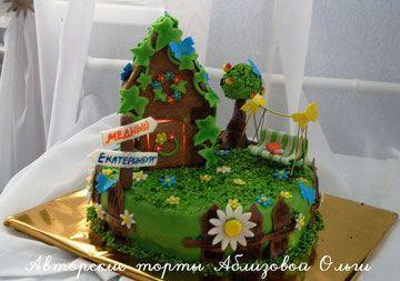 торт дача, торт с домиком