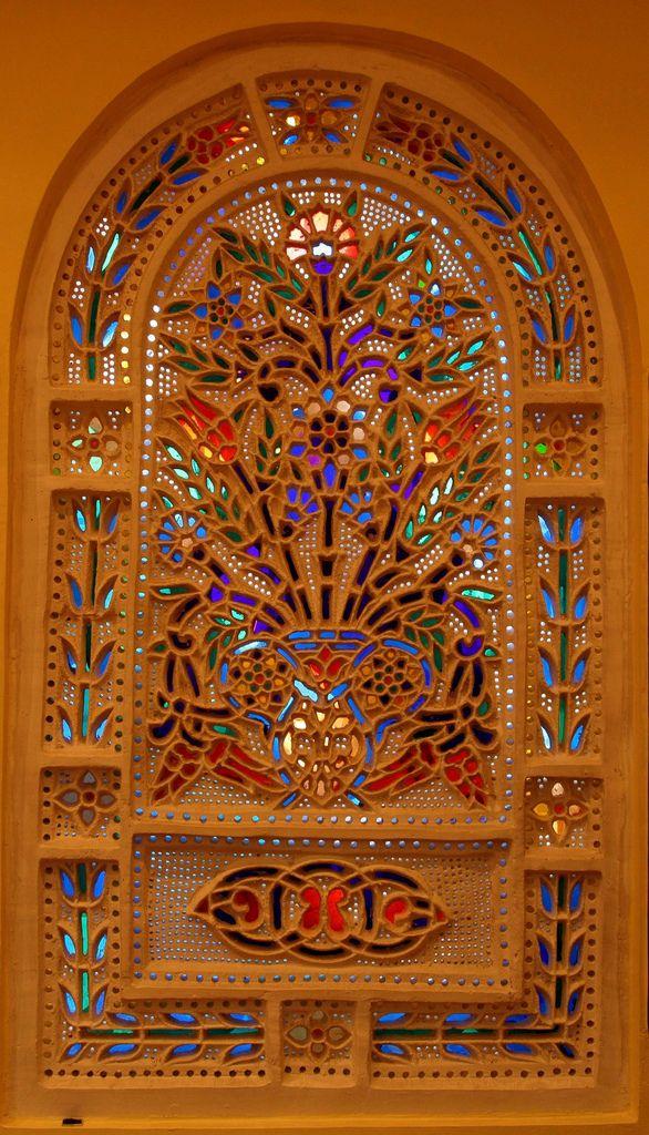 Stained glass window in a Turkish gem shop in Cappadocia,Turkey