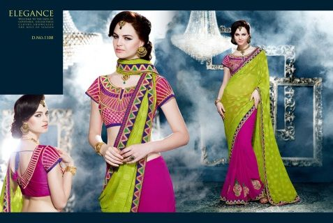 This is a beautiful designer Georgette parrot green with pink saree is a half and half variety. Georgette jacquard pallu creates a lovely contrast. With embroidered border and buttas all over it is a piece of beauty Rawsilk blouse with zari embroidery  WITH semi stitched DESIGNER BLOUSE! Saree needs a blouse and silky petticoat. Please add measurements in notes when you buy these optional items and we can custom make it for you.  Please ask for more pictures and details by clicking here