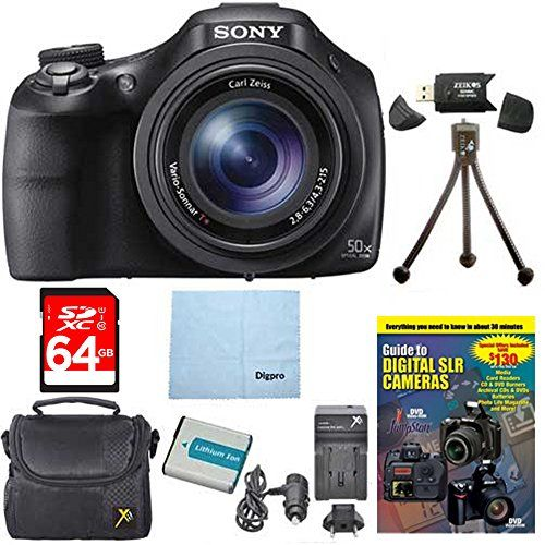 Sony DSCHX400VB DSCHX400VB DSCHX400V HX400 20 MP Digital Camera Bundle w 64GB High Speed Card Spare Battery Rapid ACDC Charger Padded Case Tutorial SD Card Reader Table top Tripod  MORE -- You can get additional details at the image link.