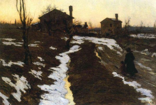 Vettore (Vittore) Antonio Cargnel,  Ultima neve,  1906,  olio su tela, cm 104,5 x 153,4, Fondazione Domus per l'arte moderna e contemporanea