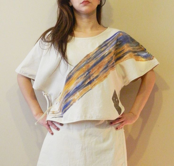 Natural Fabric (%100 cotton ) Hand painting blouse