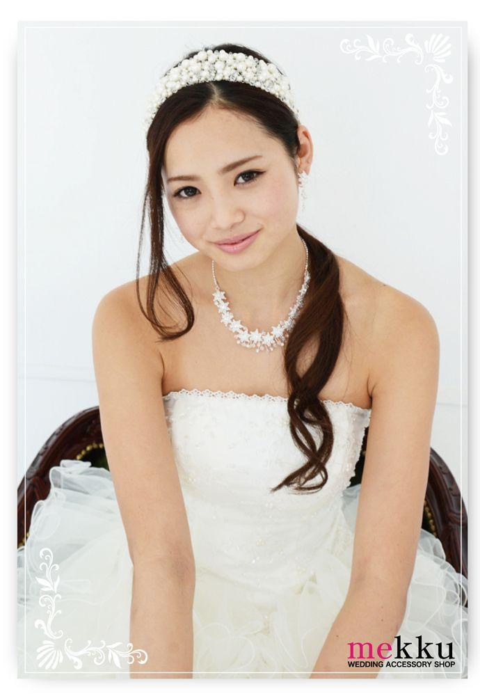 【ヘッドドレス】パールビジューヘアバンド[ha071]/ウェディングアクセサリー~mekku~【メック】