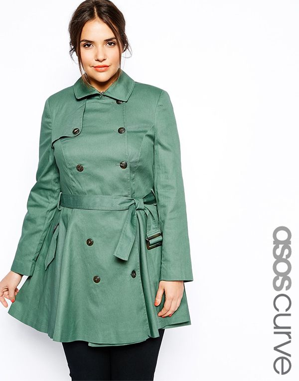 ca67b2d52049e ASOS CURVE Exclusive Fit and Flare Mac · Plus Size CoatsAsos FashionFashion  For ...