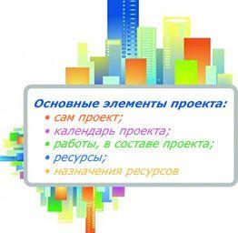 Основные элементы проекта находят свое отражение в программе Microsoft Project.