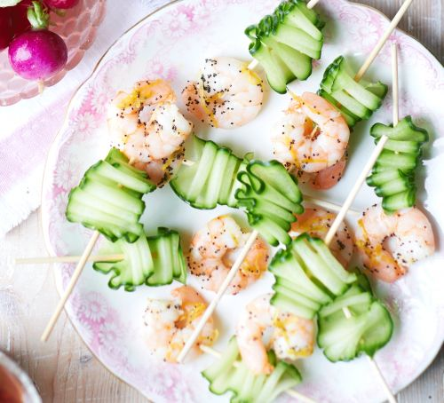 Chilled cucumber & prawn skewers