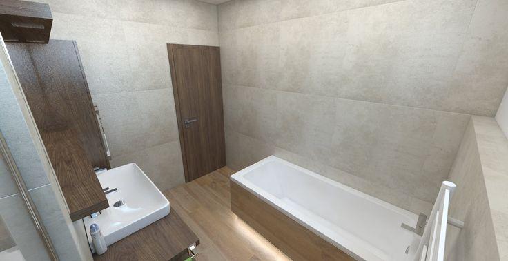 Návrh a vizualizácia kúpeľne s veľkoformátovým obkladom 75x75 cm. Paradyz Scratch